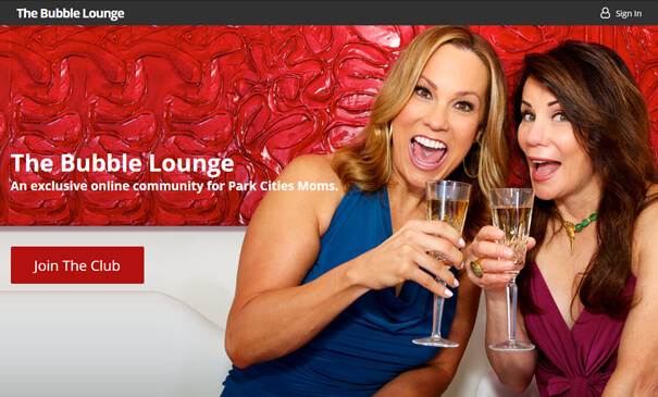 Bubblelounge.com - Theme designed & developed for an exclusive online community for Park Cities Moms.